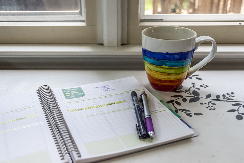 Coffee mug and planner